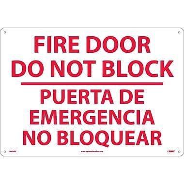 Fire Door Do Not Block Puerta De Emergencia...(Bilingual), 14X20, Rigid Plastic
