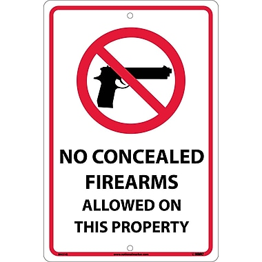 No Concealed Firearms Allowed On This Property, 18X12, .040 Aluminum