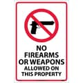 No Firearms Or Weapons Allowed On This Property, 18X12, .040 Aluminum