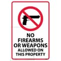 No Firearms Or Weapons Allowed On This Property, 18X12, Adhesive Vinyl