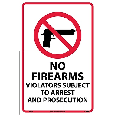 No Firearms Violators Subject To Arrest.., 18X12, Adhesive Vinyl
