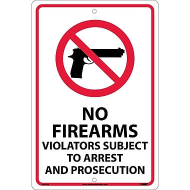 No Firearms Violators Subject To Arrest.., 18X12, Rigid Plastic