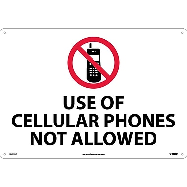 Use Of Cellular Phones Not Allowed, 14X20, Rigid Plastic