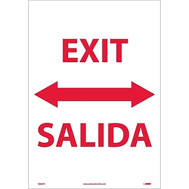 Exit Double Arrow Bilingual, 20X14, Adhesive Vinyl