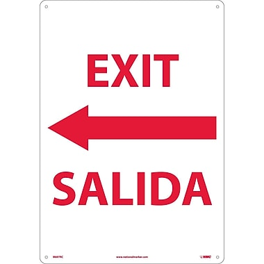 Exit Left Arrow Bilingual, 20X14, Rigid Plastic
