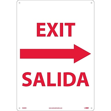Exit Right Arrow Bilingual, 20X14, Rigid Plastic