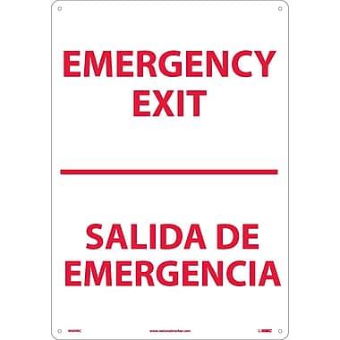 Emergency Exit Bilingual, 20X14, Rigid Plastic