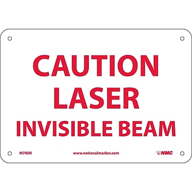 Caution Laser Invisible Beam, 7X10, Rigid Plastic
