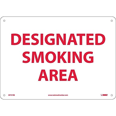 Designated Smoking Area 10X14 Rigid Plastic
