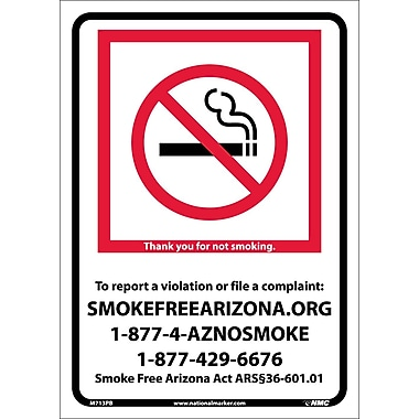 Arizona No Smoking, 10X14, Adhesive Vinyl