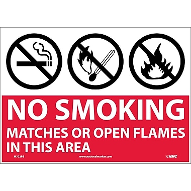 (Graphics) No Smoking Matches Or Open Flames In This Area, 10X14, Adhesive Vinyl