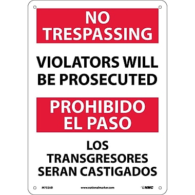 No Trespassing Violators Will Be Prosecuted, Bilingual, 14X10, .040 Aluminum