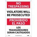 No Trespassing Violators Will Be Prosecuted, Bilingual, 14X10, Rigid Plastic