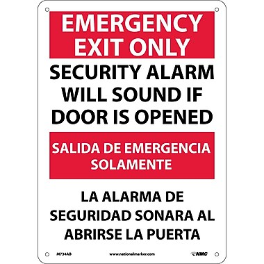Emergency Exit Security Alarm Will Sound If Door Is Opened, Bilingual, 14X10, .040 Aluminum