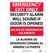 Emergency Exit Security Alarm Will Sound If Door Is Opened, Bilingual, 14X10, Adhesive Vinyl