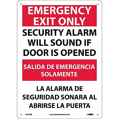 Emergency Exit Security Alarm Will Sound If Door Is Opened, Bilingual, 14X10, Rigid Plastic