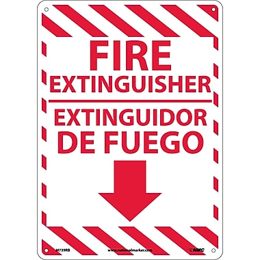 Fire Extinguisher, Bilingual, 14X10, Rigid Plastic
