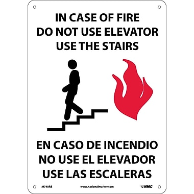 In Case Of Fire Do Not Use Elevator Use Stairs (Graphic), Bilingual 14X10, Rigid Plastic