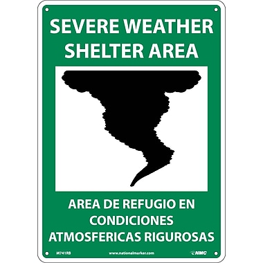 Severe Weather Shelter Area (Graphic), Bilingual, 14X10, Rigid Plastic