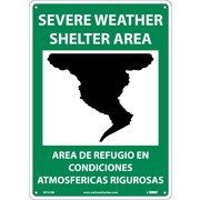 Severe Weather Shelter Area (Graphic), Bilingual, 14X10, Rigid Plastic