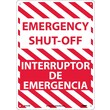 Emergency Shut-Off, Bilingual, 14X10, .040 Aluminum