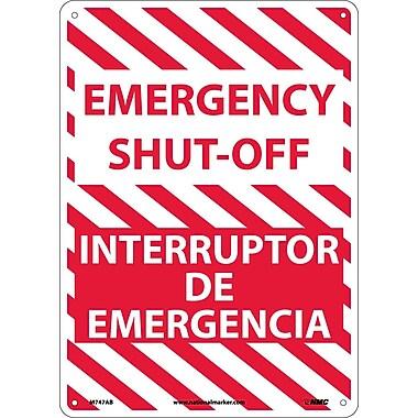 Emergency Shut-Off, Bilingual, 14X10, .040 Aluminum
