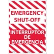 Emergency Shut-Off, Bilingual, 14X10, Adhesive Vinyl