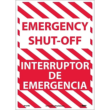 Emergency Shut-Off, Bilingual, 14X10, Adhesive Vinyl