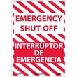 Emergency Shut-Off, Bilingual, 14X10, Rigid Plastic