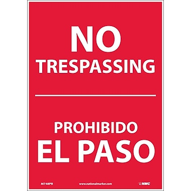 No Trespassing, Bilingual, 14X10, Adhesive Vinyl