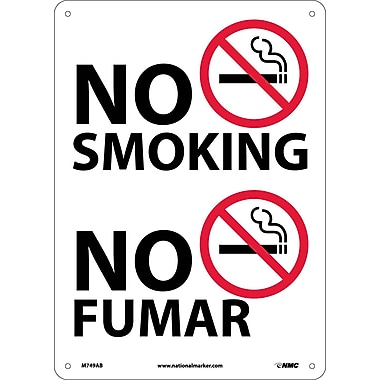 No Smoking (Graphic), Bilingual, 14X10, .040 Aluminum
