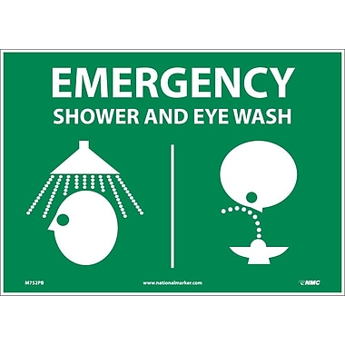 Emergency Shower & Eye (Graphics), 10X14, Adhesive Vinyl