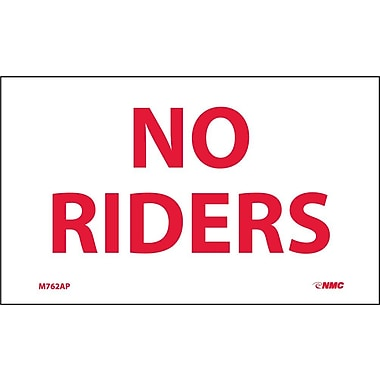 Labels -No Riders, 3X5, Adhesive Vinyl, 5/Pk