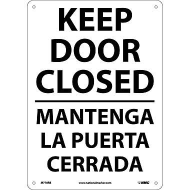 Keep Door Closed, Bilingual, 14X10, Rigid Plastic
