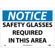 Notice, Safety Glasses Required In This Area, 10X14, Rigid Plastic