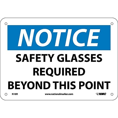 Notice, Safety Glasses Required Beyond This Point, 7X10, Rigid Plastic