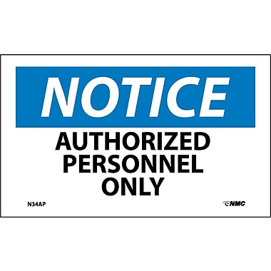 Labels Notice, Authorized Personnel Only, 3