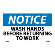 Labels - Notice, Wash Hands Before Returning To Work, 3X5, Adhesive Vinyl, 5/Pk