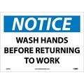 Notice, Wash Hands Before Returning To Work, 10X14, Adhesive Vinyl