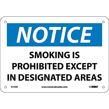 Notice, Smoking Is Prohibited Except In Designated Areas, 7X10, Rigid Plastic