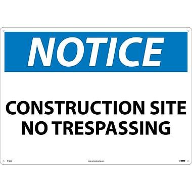 Notice, Construction Site No Trespassing, 20