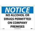 Notice, No Alcohol Or Drugs Permitted On Company Premises, 10X14, Rigid Plastic