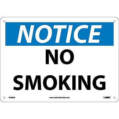 Notice, No Smoking, 10X14, .040 Aluminum