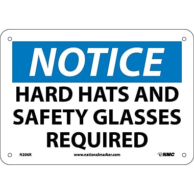 Notice, Hard Hat And Safety Glasses Required, 7X10, Rigid Plastic