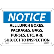 Notice, All Lunch Boxes Packages Bags Purses. . ., 7X10, Rigid Plastic