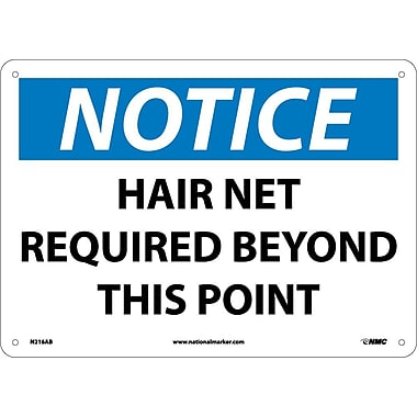 Notice, Hair Net Required Beyond This Point, 10X14, .040 Aluminum