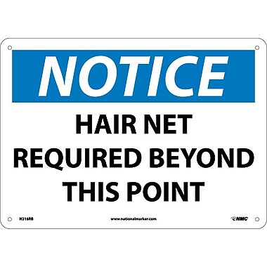 Notice, Hair Net Required Beyond This Point, 10X14, Rigid Plastic