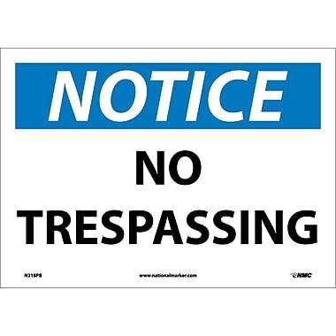 Notice, No Trespassing, 10X14, Adhesive Vinyl