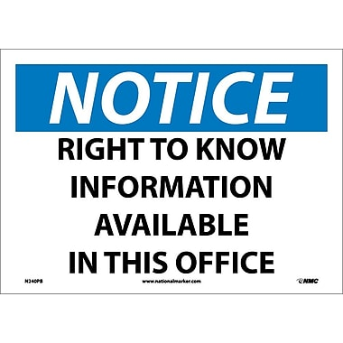 Notice, Right To Know Information Available In This Office, 10