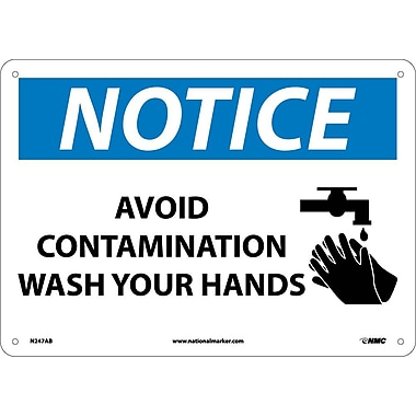 Notice, Avoid Contamination Wash Your Hands, Graphic, 10X14, .040 Aluminum